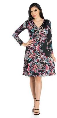 24/7 Comfort Apparel 24seven Comfort Apparel Feminine Paisley Long Sleeve Knee Length Dress