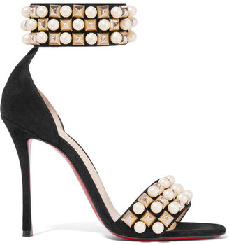 Christian Louboutin - Tudor Bal 100 Embellished Suede Sandals - Black $1,195 thestylecure.com