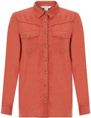 Next Womens Monsoon Ladies Brown Lucy Linen Shirt