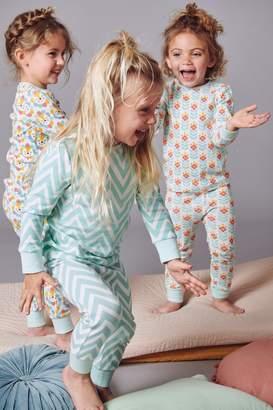 Next Girls Teal/Ecru 3 Pack Snuggle Pyjamas (9mths-8yrs) - Green