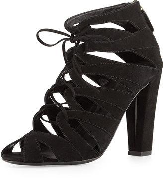 Delman Darci Suede Lace-Up Bootie, Black $273 thestylecure.com