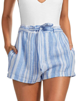 Vitamin A Sonia Striped Linen Coverup Shorts