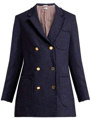 Thom Browne Double Breasted Wool Blend Blazer - Womens - Navy