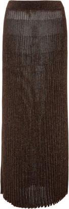Michael Kors Pleated Metallic Stretch-Knit Midi Skirt Size: