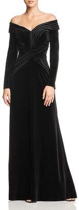 Tadashi Shoji Off-the-Shoulder Velvet Gown
