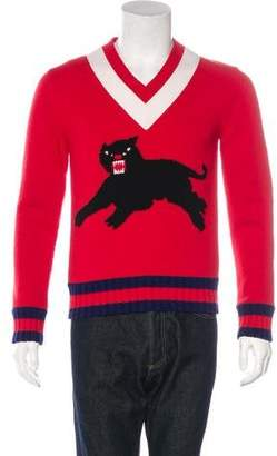 Gucci 2017 Panther Wool Intarsia Sweater