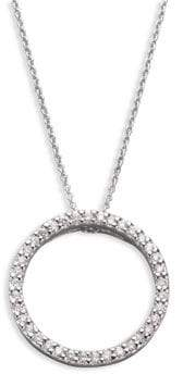 Roberto Coin Tiny Treasures Diamond & 18K White Gold Small Circle Pendant Necklace