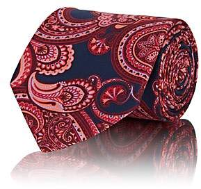 Barneys New York Men's Paisley Silk Faille Necktie - Navy