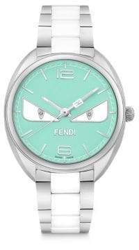 Fendi Momento Bug Diamond, Stainless Steel& Turquoise Ceramic Bracelet Watch