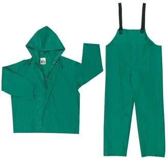 River City Two-Piece Rain Suit, Jacket w/Hood, Bib Pants, 0.42 mm PVC/Poly, Green, Large