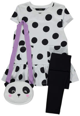 George Spot Print Dress, Leggings and Panda Bag Outfit