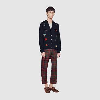 Gucci Embroidered wool knit cardigan