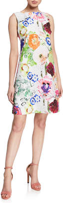 Chiara Boni Abstract Floral-Print High-Neck Sleeveless A-Line Dress