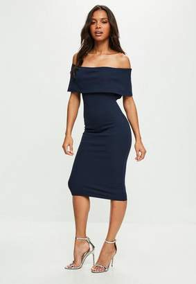 Missguided Navy Cut Out Midi Dress