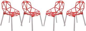 LeisureMod 3D Dalton Painted Iron Chair, Red Set of 4