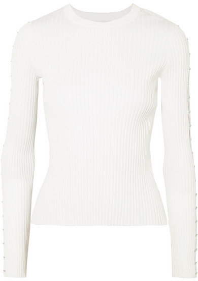 Cutout Ribbed-knit Sweater - White