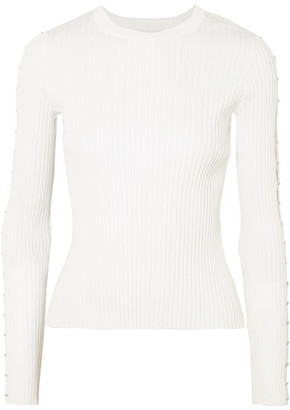 Jonathan Simkhai Cutout Ribbed-knit Sweater - White