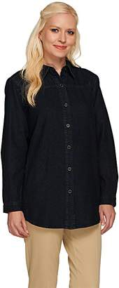 Joan Rivers Classics Collection Joan Rivers Classic Denim Boyfriend Shirt with Pockets