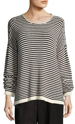 Eileen Fisher Plus Size Cozy Striped Box Top, Soft White/Black