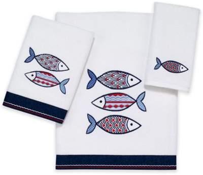 Mosaic Fish Hand Towel in White