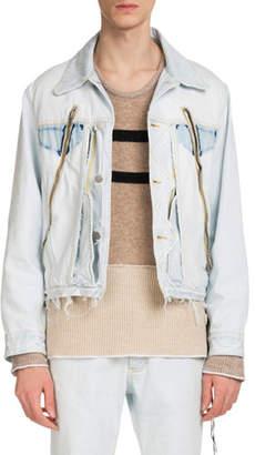 Maison Margiela Men's Zip-Detail Denim Jacket