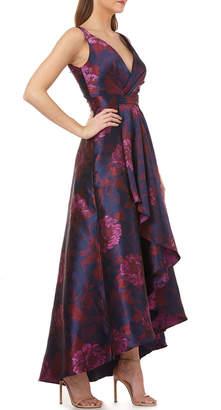 Carmen Marc Valvo Faux-Wrap High-Low Floral Ball Gown