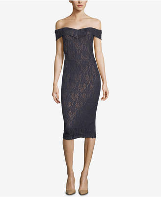 ECI Lace Off-The-Shoulder Cocktail Dress