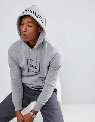HUF Box Logo hoodie with hood print in gray