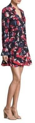 Peserico Poppy Long Sleeve Tulip Print Silk Dress