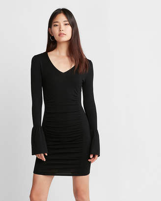 Express V-Neck Bell Sleeve Ruched Dress
