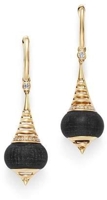 Olivia B 14K Yellow Gold Diamond & Matte Black Onyx Drop Earrings - 100% Exclusive