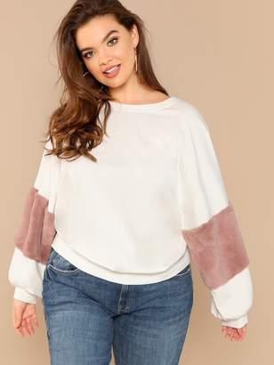 Shein Plus Faux Fur Detail Sweatshirt