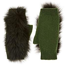 Lafayette House of Women's Fur-Trimmed Cashmere Fingerless Gloves-Green