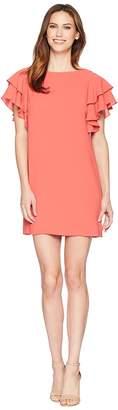 Adrianna Papell Gauzy Crepe Ruffle Sleeve Shift Women's Dress