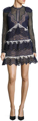 Self-Portrait Self Portrait Wave-Guipure Lace Mini Cocktail Dress
