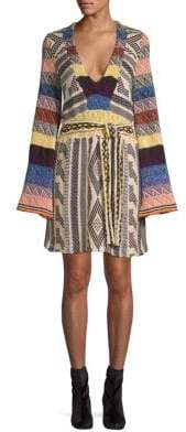 Free People Patchwork Bell Sleeve Dress