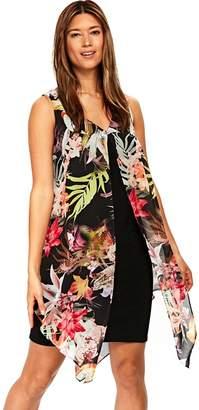 Wallis Black Tropical Overlayer Dress