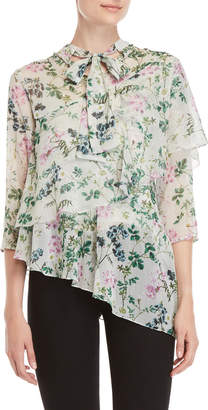 Hemant & Nandita Floral Tie Neck Tiered Asymmetric Top
