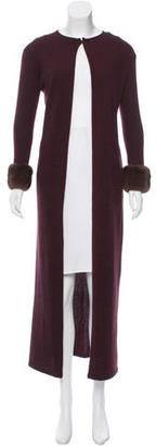 Vera Wang Fur-Trimmed Cashmere Cardigan $225 thestylecure.com