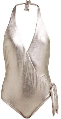 Adriana Degreas Metallic Jersey Halterneck Swimsuit - Womens - Silver