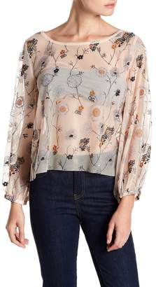 Melrose and Market Embroidered Mesh Top (Regular & Petite)