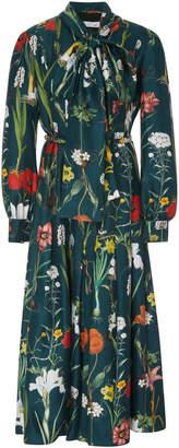 Oscar de la Renta Pussy-bow Floral-Print Silk Midi Dress