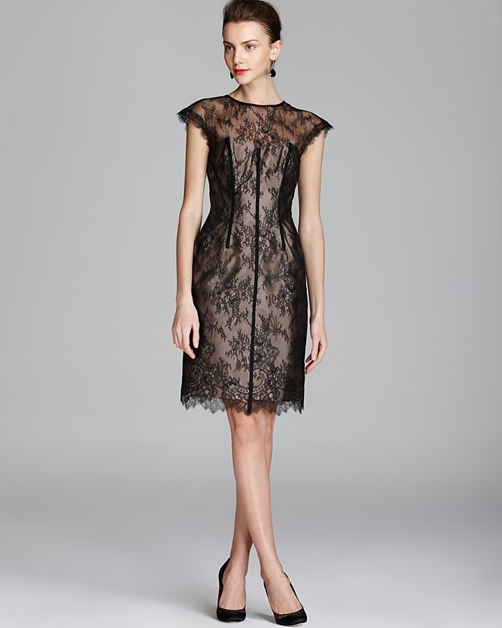Monique Lhuillier ML Lace Dress - Cap Sleeve