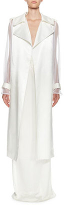 Lanvin Lacquered Twill & Organza Long Trench Coat, White $3,335 thestylecure.com
