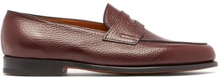 John Lobb Lopez Moorland Grained Leather Loafers - Mens - Burgundy