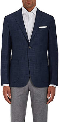 Barneys New York MEN'S NEAT WOOL-SILK TWO-BUTTON SPORTCOAT - NAVY SIZE 44 L