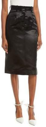 Calvin Klein A-Line Mid-Calf Satin Skirt