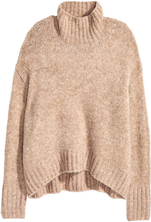 H&M - Knit Turtleneck Sweater - Beige melange - Ladies