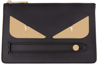 Fendi Black and Gold Small Bag Bugs Pouch