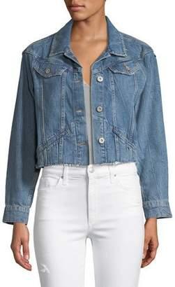 Paige Tori Cropped Button-Front Denim Jacket
